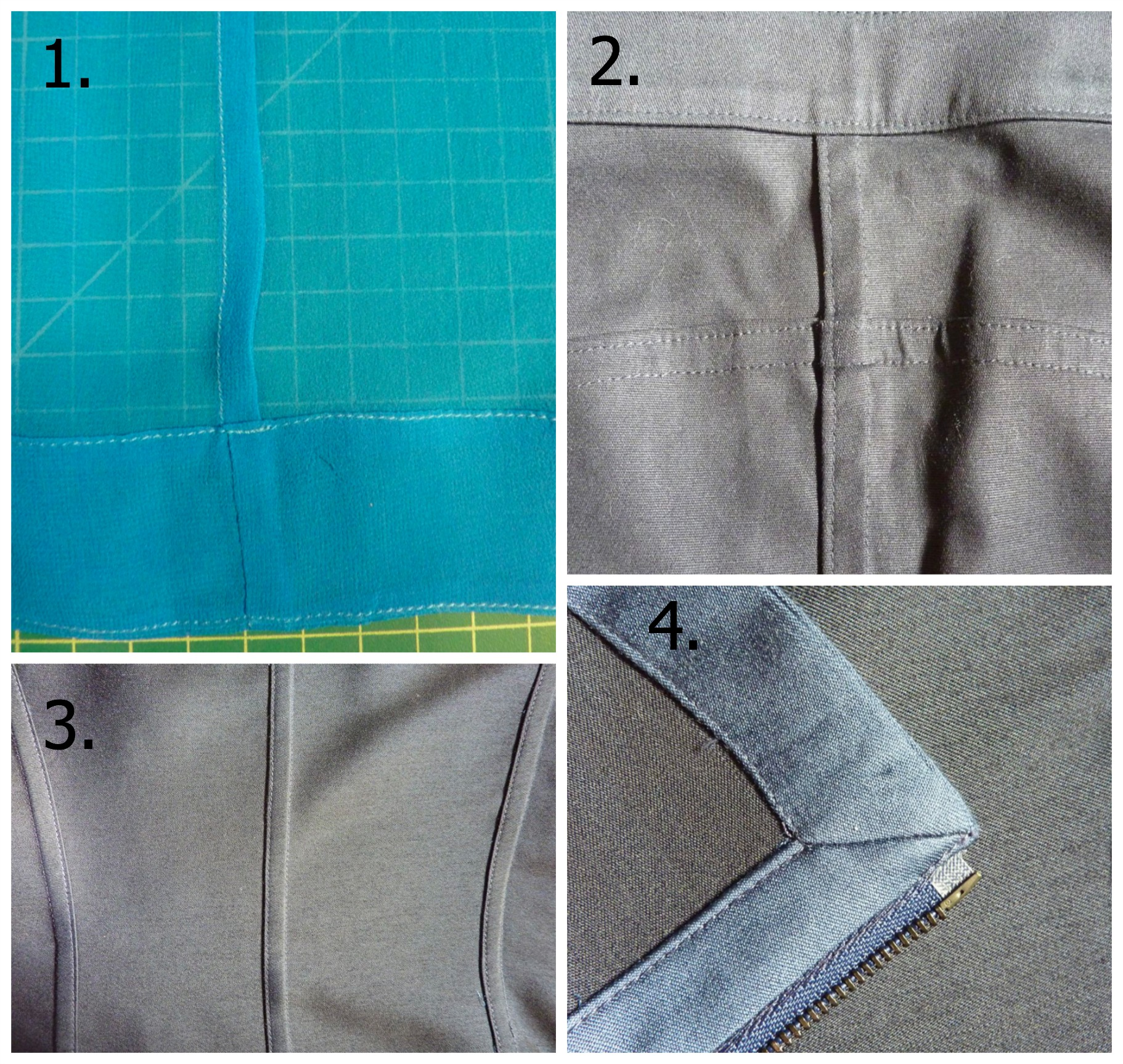 1. This is a French Seam. Often used with silks and light weight fabrics, it finishes both the inside and outside edge, preventing the fabric from fraying. 2. A Mock Felled Seam. Often used in denim, this technique strengthens the garment by interlocking heavier-weight fabric. 3. This is the inside back view of the black drape jacket in the second outfit above. Tailored to perfection! Another Mock Felled Seam. 4. The Mitered Corner. A perfect 45 degree angle finishes the corner cleanly with less bulk.
