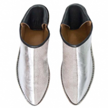 SILVER LEATHER AND GREY TEXTURE SLIPPER